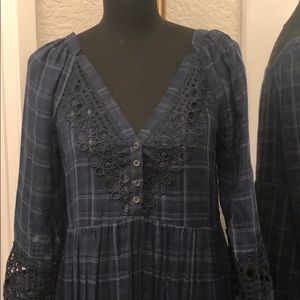 Anthropologie Navy Dress with Lace